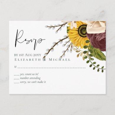 Marsala Roses Sunflowers Budget Cheap Wedding Postcard