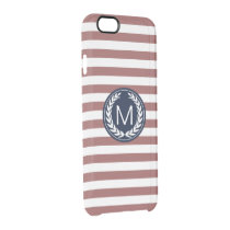 Marsala Stripe with Navy Laurel Wreath Monogram Clear iPhone 6/6S Case
