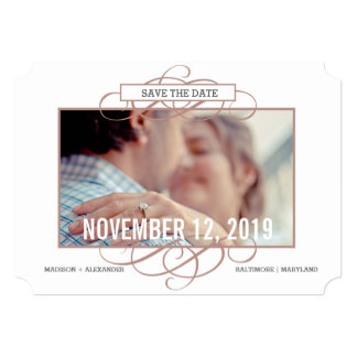 Marsala Vintage Border Chic Save The Date Photo Card