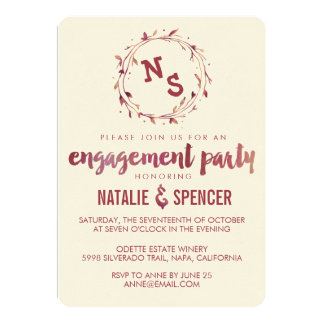 Marsala Watercolor Engagement Party Invitations