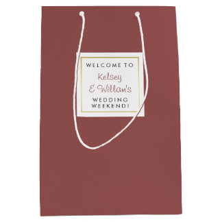Marsala Wedding Out of Town Guests Welcome Medium Gift Bag