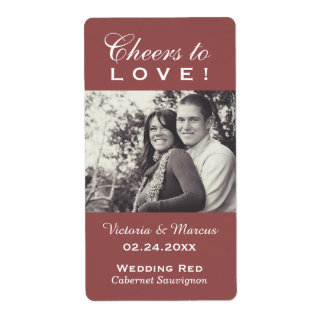 Marsala Wedding Photo Wine Bottle Favor Labels