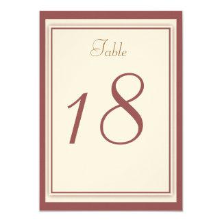 Marsala Wedding Table Number Card