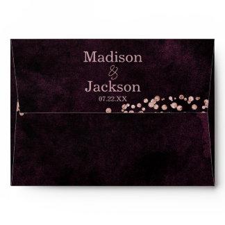 Marsala Wine & Rose Gold Glam Wedding Monogram Envelope