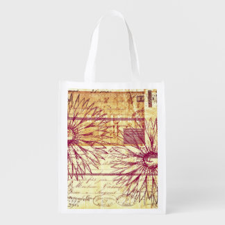 Marsala Wine Vintage French Typography Flowers Grocery Bags