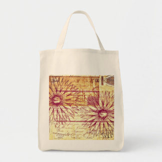 Marsala Wine Vintage French Typography Flowers Grocery Tote Bag
