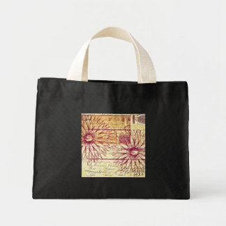 Marsala Wine Vintage French Typography Flowers Mini Tote Bag