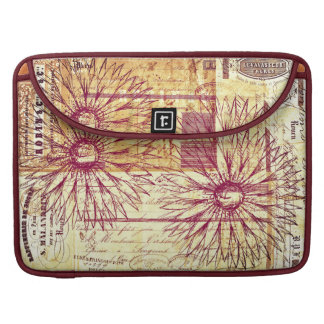 Marsala Wine Vintage French Typography Flowers Sleeve For MacBooks