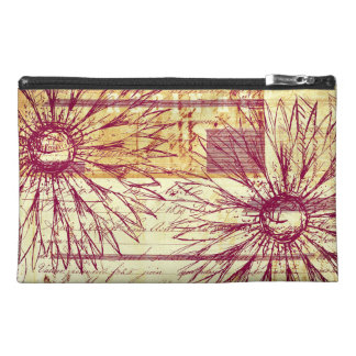 Marsala Wine Vintage French Typography Flowers Travel Accessory Bags