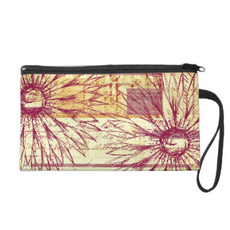 Marsala Wine Vintage French Typography Flowers Wristlet Clutches