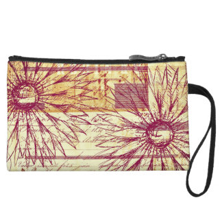 Marsala Wine Vintage French Typography Flowers Wristlet Wallet