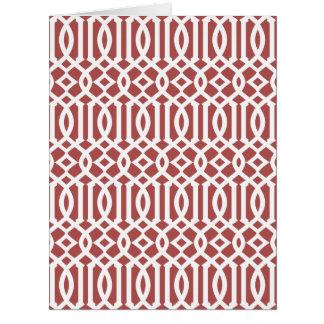 Marsala y modelo moderno blanco del enrejado tarjeta de felicitación grande