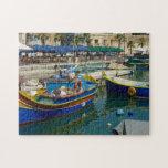 "Marsaxlokk painted boats jigsaw puzzle<br><div class=""desc"">Some pretty painted fishermen&#39;s boats in Marsaxlokk bay Malta.</div>"