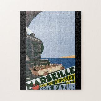 Marseille Cote D'Azur Vintage Travel Poster Puzzle
