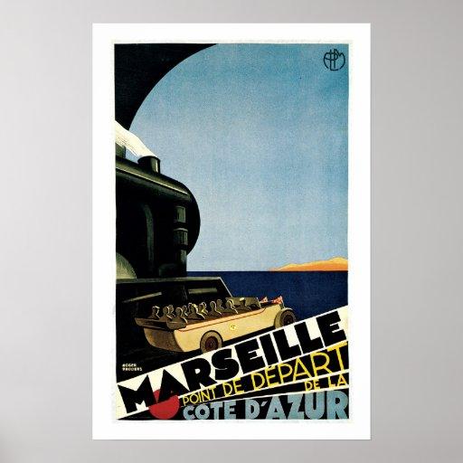 Marseille Cote Du Azur Vintage Travel Poster