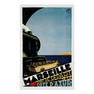 Marseille France Vintage Travel Poster