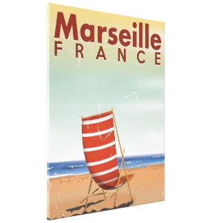 Marseille France vintage travel poster Canvas Print