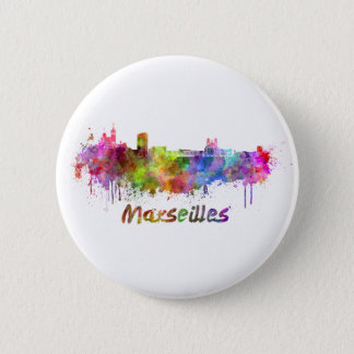 Marseille skyline in watercolor button