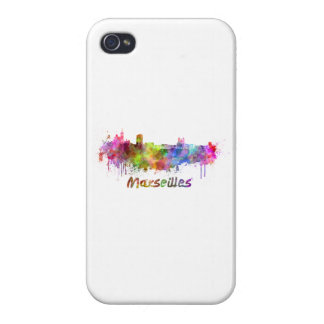 Marseille skyline in watercolor iPhone 4 cases