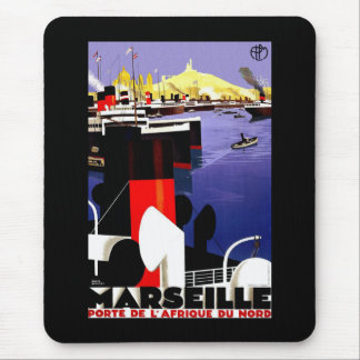 Marseilles, France Vintage Travel Mouse Pad