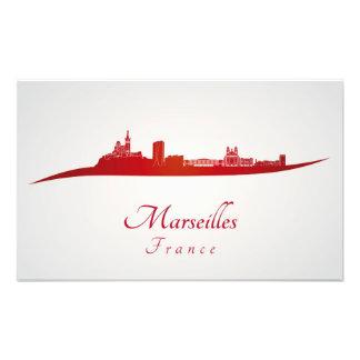 Marseilles skyline in red cojinete