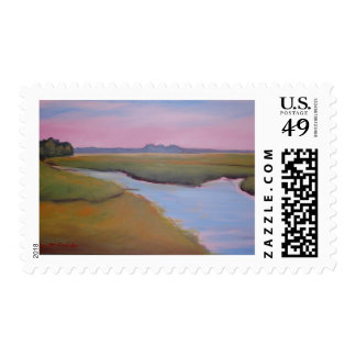 Marsh Channel Sunrise Postage Stamp