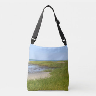 Marsh grass, sand, and outgoing tide crossbody bag