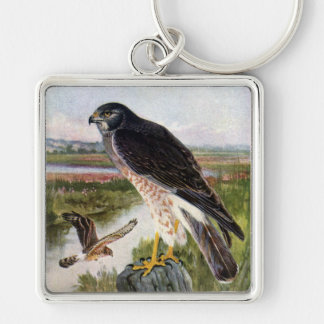 Marsh Hawk Silver-Colored Square Keychain