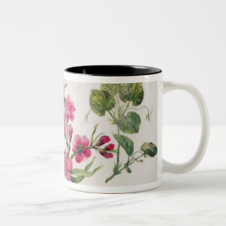 Marsh Marigold, Japonica, Violet (w/c on paper) Two-Tone Coffee Mug
