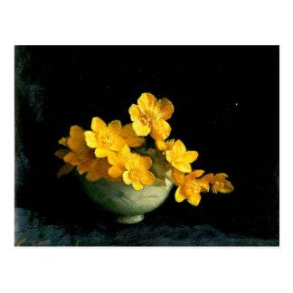 Marsh Marigolds, still life painting Postcard
