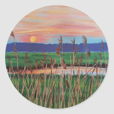 Beach Themed Marsh View Classic Round Sticker