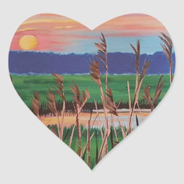 Beach Themed Marsh View Heart Sticker