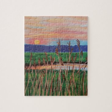 Beach Themed Marsh View Jigsaw Puzzle