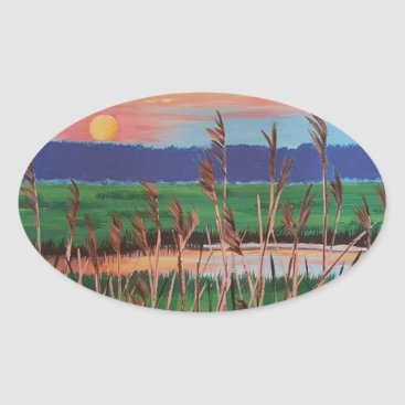 Beach Themed Marsh View Oval Sticker