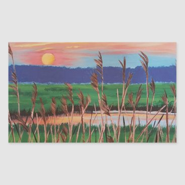 Beach Themed Marsh View Rectangular Sticker