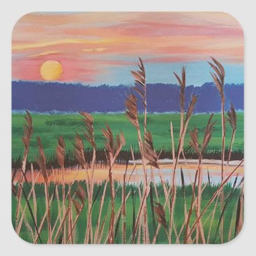 Beach Themed Marsh View Square Sticker