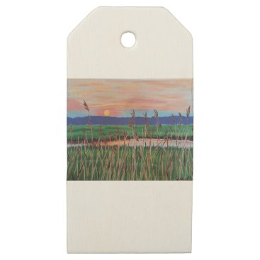 Beach Themed Marsh View Wooden Gift Tags
