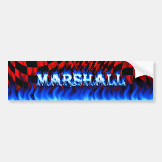 Marshall blue fire and flames bumper sticker desig