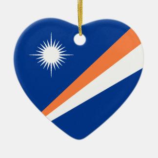 Marshall Islands Flag Heart Double-Sided Heart Ceramic Christmas Ornament