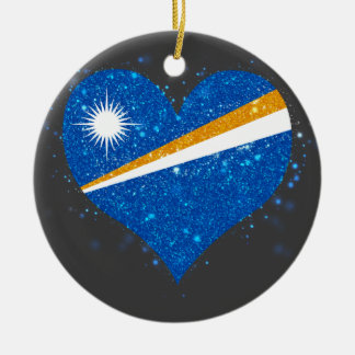 Marshall Islands Flag Shining Unique Double-Sided Ceramic Round Christmas Ornament