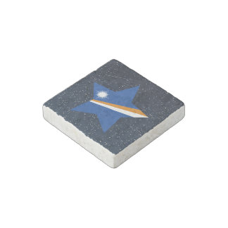 Marshall Islands Flag Star In Space Stone Magnet