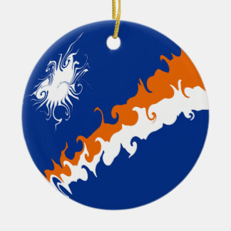 Marshall Islands Gnarly Flag Double-Sided Ceramic Round Christmas Ornament