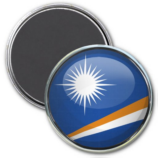 Marshall Islands señalan la bola por medio de una Imán Redondo 7 Cm