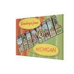 Marshall, Michigan - Large Letter Scenes Stretched Canvas Prints