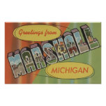 Marshall, Michigan - Large Letter Scenes Posters