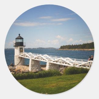 Marshall Point Light Classic Round Sticker
