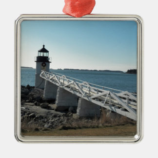 Marshall Point Lighthouse 5 Square Metal Christmas Ornament