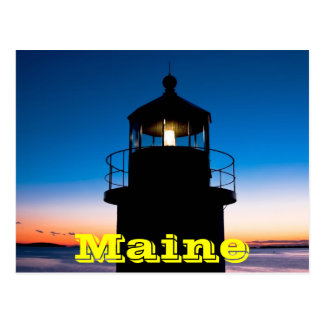Marshall Point Lighthouse At Sunset In Maine Postcard