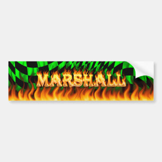 Marshall real fire and flames bumper sticker desig
