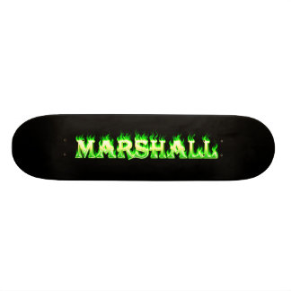 Marshall skateboard green fire and flames design.
